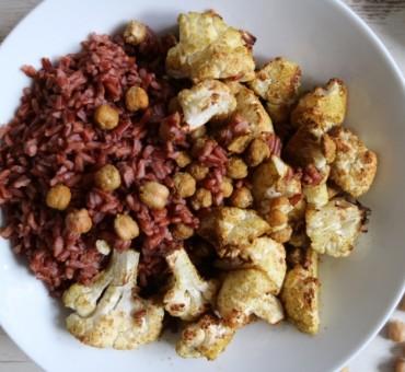Gerösteter Blumenkohl, Kichererbsen & Roter Reis