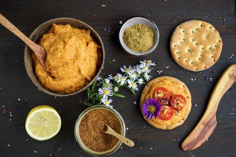 Kürbis-Hummus, ölfrei & ballaststoffreich
